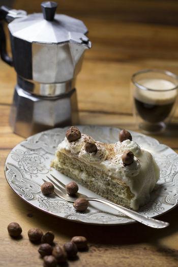 Cake Coffee Coffee - Drink Drink Eating Utensil Food Food And Drink Household Equipment Marzipan Nutcake Plate Sweet Sweet Food Table