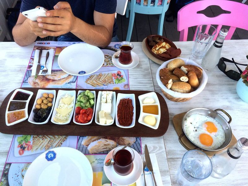 Turkish Turkish Food Turkish Breakfast  Food And Drink Plate Table Food Freshness Serving Size Ready-to-eat Real People Meal Indoors  Breakfast One Person Drink Healthy Eating Refreshment Coffee - Drink Fork Indulgence Men Meat Food Travel