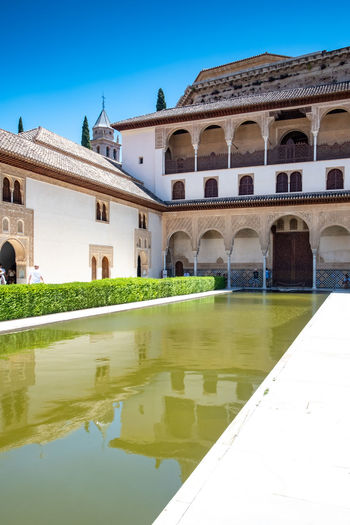 Alhambra (Granada) Alhambra De Granada  Granada, Spain The Week on EyeEm Alhambra Arch Architecture Building Building Exterior Built Structure Courtyard  Day History Lake Nature No People Outdoors Plant Reflection Sky The Past Tourism Travel Travel Destinations Water