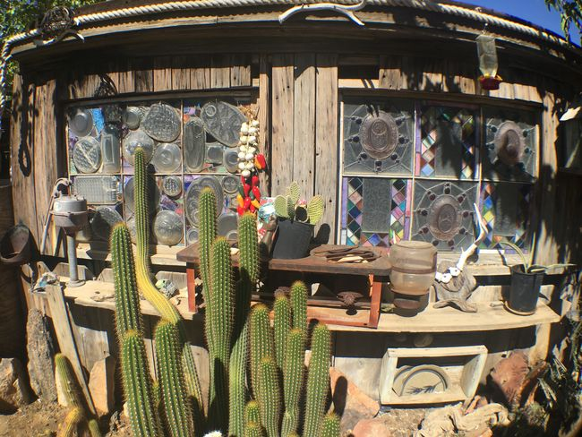 Small Business Store Retail  Day No People Choice Outdoors Cactus Desert Western General Store Stained Glass Old Timey Post Apocalyptic Southwestern Wooden Recycled Frontier Life Pioneer California Joshua Tree Swap Meet Mojave Desert