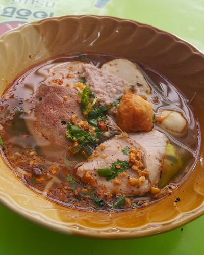 Thai Tomyum Pork Noodle Soup Tomyamsoup  Thai Food Thaistyle Pork Ball Pork Soup Spicy Thai Food Thailand Street Foods EyeEm Selects Close-up Food And Drink Soup Noodle Soup