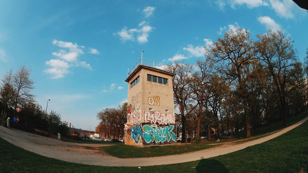 A Watchtower from East Germany still stands here in Berlin