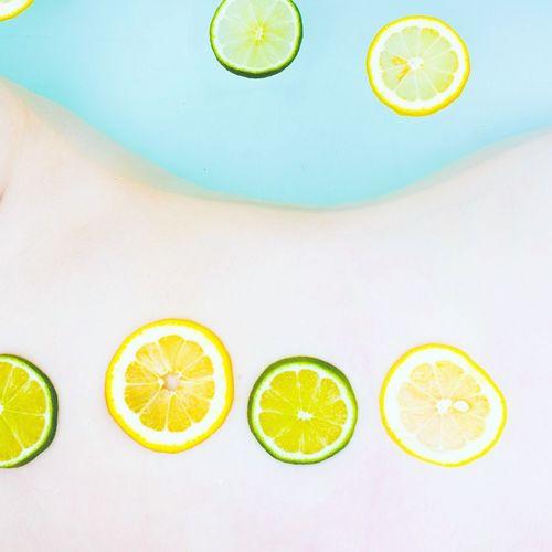 Various fruits in water