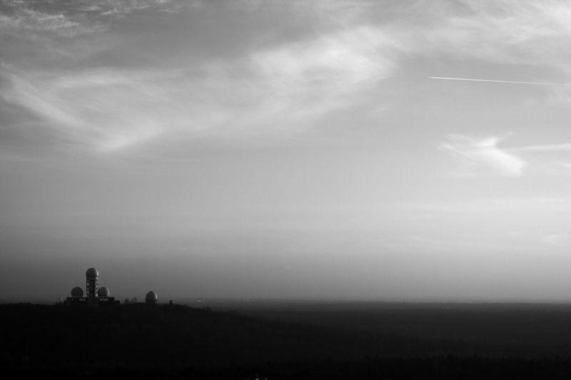 Architecture And Nature Atmosphere Atmospheric Mood Blackandwhite Blackandwhite Photography Eye4black&white  Horizon Over Land Landscape Monitoring Station Sky And Clouds Teufelsberg