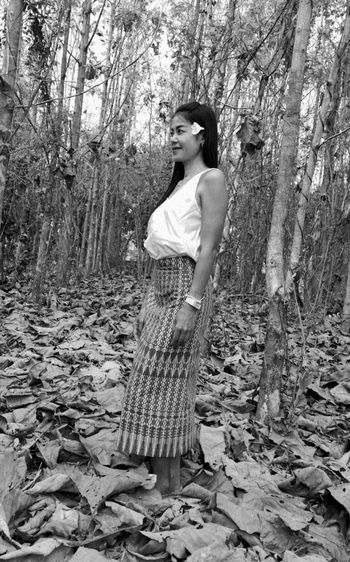 Black & White Women Of EyeEm One Person Tree Standing Full Length Smiling Thailand🇹🇭 2018 Close-up EyeEmNewHere Tranquility Beauty❤ Outdoors Plant Growth Flower People Beauty In Nature