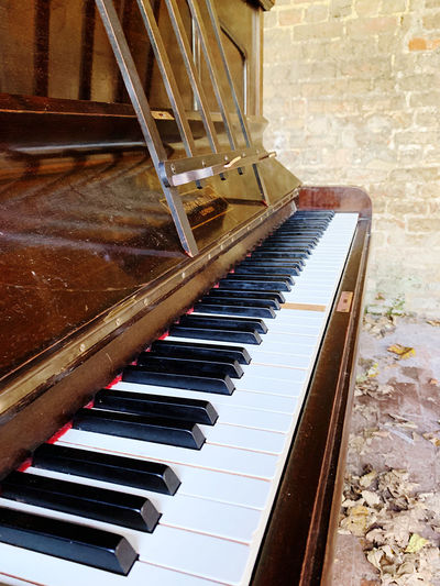 High angle view of piano