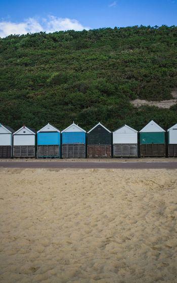 Bournemouth Bournemouth Beach Beach Cabins Walking Around Pattern Texture Weekend Trip Summer Colors Blue Wave