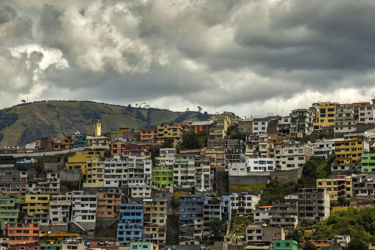 Quito Ecuador Architecture Building Exterior Built Structure City Cityscape Cloud - Sky Day House Mountain Nature No People Outdoors Residential Building Sky