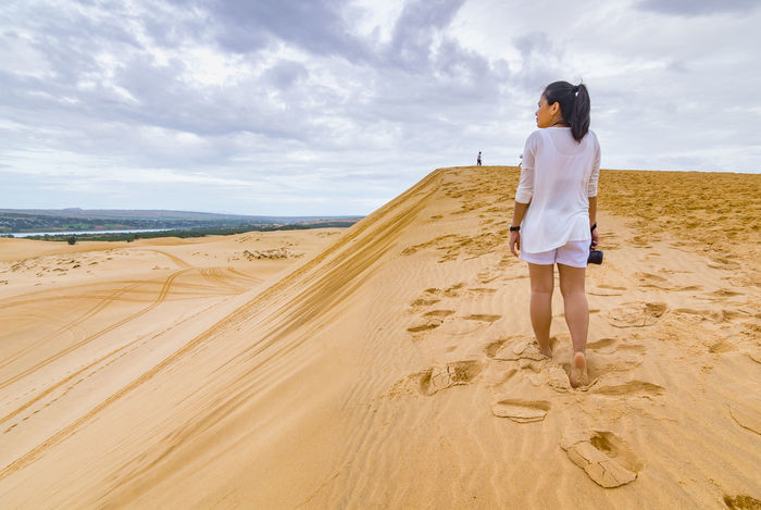 Sand Dune Morning Vacations Desert One Person Women Day Nature One Girl Only Sand Dune Muine Vietnam View Journal Journey Travel Lanscape Travel Destinations Lanscape Photography Range