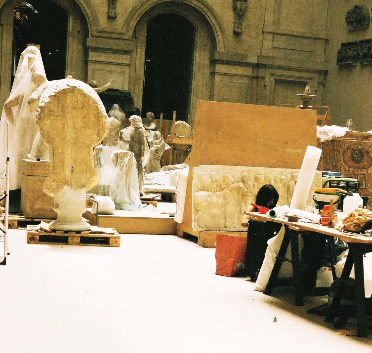 sculpture, art and craft, statue, indoors, day, real people, sculptor, workshop