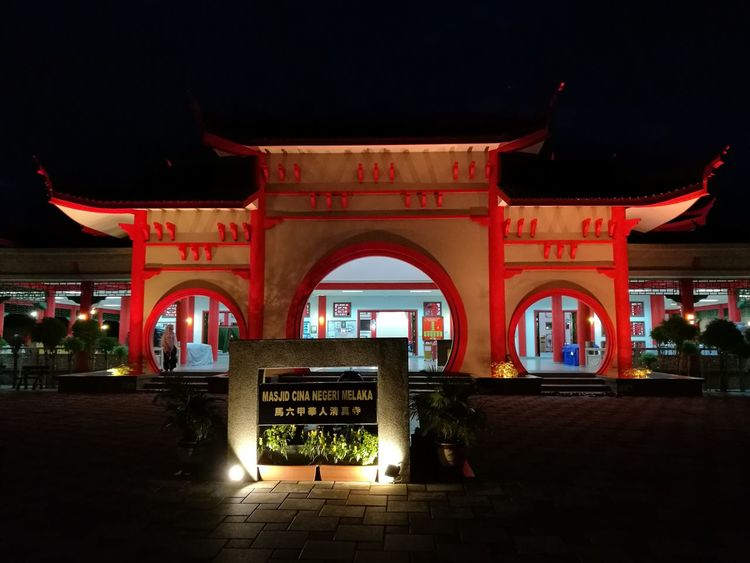 City Night Illuminated Red Travel Destinations Architecture Arch No People Outdoors Nightlife Sky Red Carpet Event mosque malacca