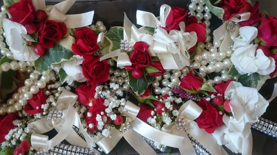 High angle view of bouquet