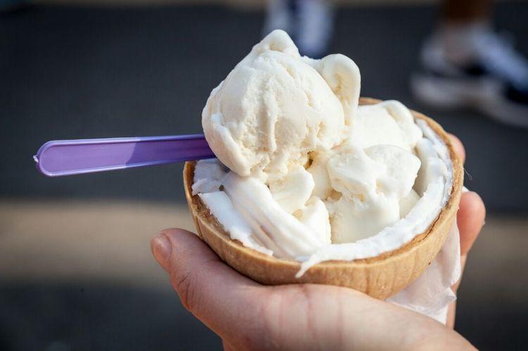 Coconut ice cream. In a coconut. Unbelievably good. Ice Cream Close-up Holding Dessert Frozen Food Human Hand Sweet Food Coconuticecream