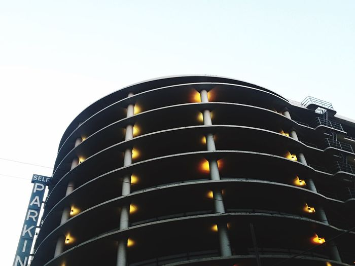 Low angle view of illuminated building