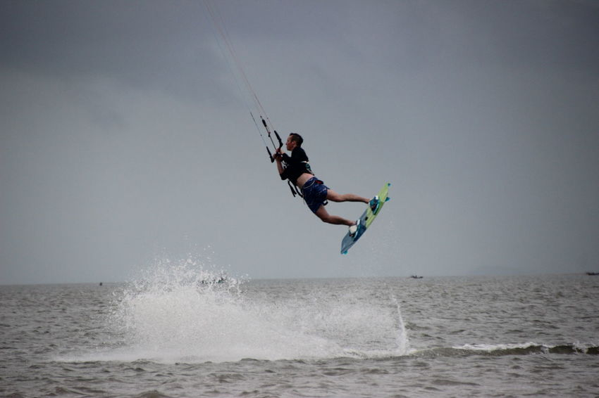 Enjoyment Extreme Sports Kitesurf Kitesurfing Leisure Activity Mid-air Outdoors Sea Sky Surfing Water Waterfront