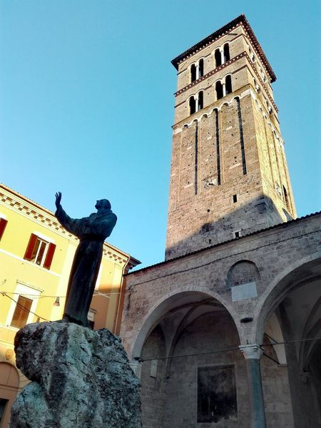Rieti, Italy Architecture Low Angle View Building Exterior Built Structure Tower History Clock Tower Travel Destinations Sculpture Religion Day Outdoors No People Sky Clock Face My Own Photography Italy 🇮🇹 Huawei P8 Lite No Filter, No Edit, Just Photography No Edit/no Filter Clock City Your Ticket To Europe EyeEmNewHere