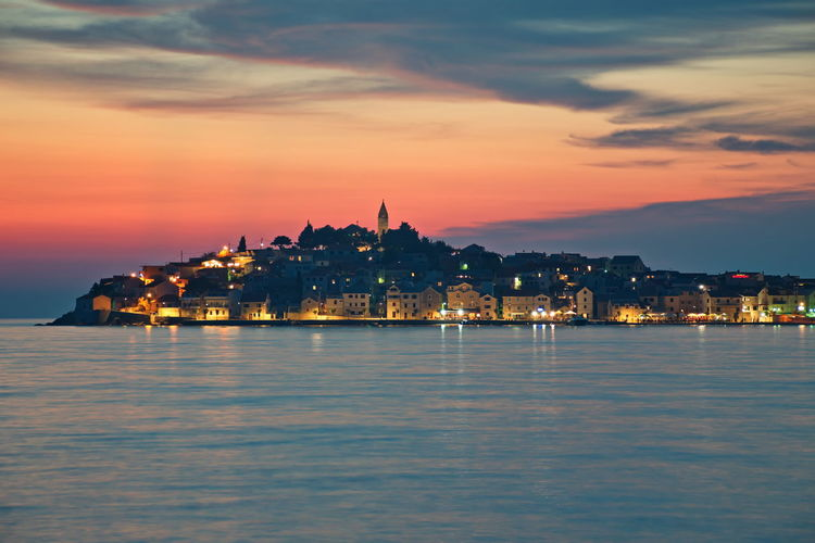 Cityscape of primosten in adriatic sea during blue hour