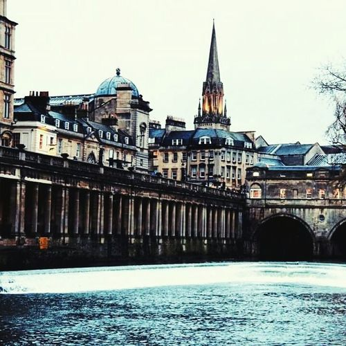 Bath UK Built Structure Architecture Building Exterior Connection Water River Waterfront Bridge - Man Made Structure Clear Sky City Engineering Travel Destinations Bridge City Life Day Spire  Outdoors Town Arch Sky