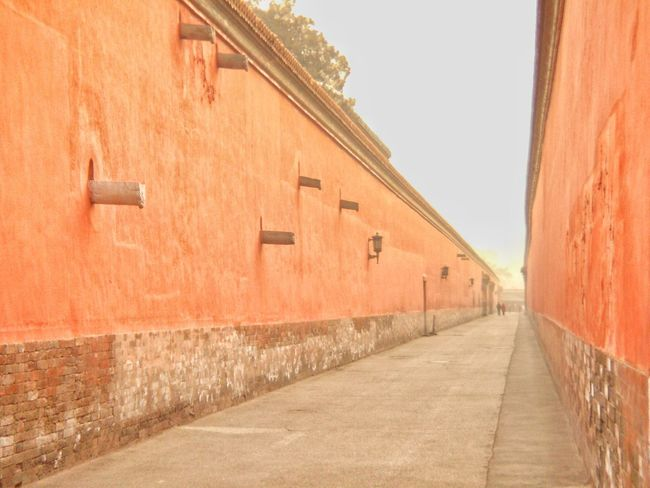 Forbidden City Beijing Fluchtpunkt Empty Walls Walkway Lines Urban Geometry