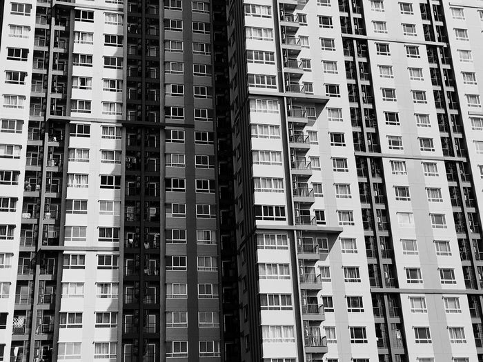 Architecture City Window Apartment Building Exterior Skyscraper Residential Building Full Frame Day Housing Development No People Cityscape Modern Outdoors B&w Blackandwhite