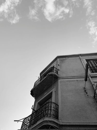 Low angle view of old building against sky
