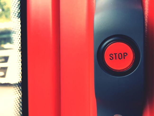 Red Push Button Close-up Text Western Script No People Communication