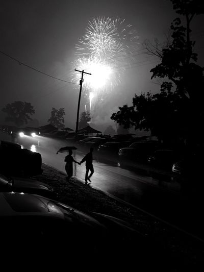 The Great Outdoors With Adobe Shades Of Grey Shadows & Lights Shot By IPhone Blackandwhite Darkness And Light Fireworks Couple Car Lights People And Places