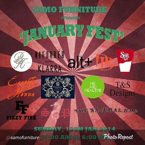 "By @samofurniture ""It's gonna be a fashion feast this Sunday 12th Samofurniture presents Januaryfest from 11am-6pm. Get your fashion fix from @naforrer made to measure, Klarra , @tsexclusivedesigns, vintage and new from @alt_ernate, iconic patriotic caps and ts from @fizzyfireapparel, blinged up accessories from @beadsheaps. Or why not get pierced with @suicidepiercing or hennaed by Earthlyhenna . To whet your appetite we have @artsyglam dinsbistro hipandhealthy and to quench your thirst @sipntell. Don't forget it's this Sunday - It's gonna EPIC! sundayfunday supportyourlocalvendor"" via @PhotoRepost_app"