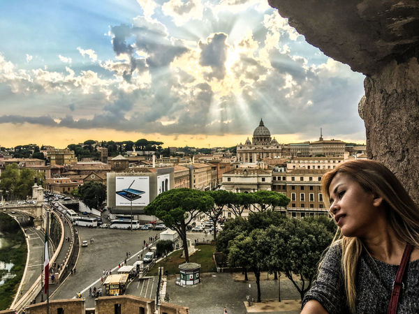 City Moving Around Rome Rome Italy🇮🇹 Traffic Vatican Architecture Building Exterior Built Structure City Cityscape Cloud - Sky Clouds Day Movement One Person Outdoors People Real People Sky Sun Rays Sunset Tourism Travel Destinations Women Young Adult