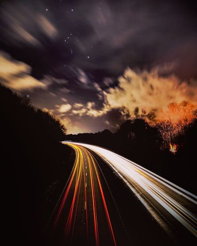 Action lights Alert Tension Fast Intensity Motorway Night Night Lights Nightlife Nightphotography Clouds & Sky Clouds Fire Smoke Orion Stars Road Speed Long Exposure Motion Transportation Light Trail Night Star - Space Cloud - Sky Sky Blurred Motion EyeEmNewHere EyeEmNewHere
