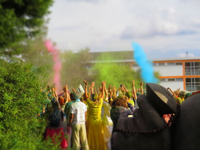 Celebration Colors Happiness Heidenrod Just Love Festival 2017 Life Love Unity Universal Love Adults Only Arms Raised Atmospheric Celebration Crowd Energetic Holi Human Body Part Large Group Of People Party People Real People Togetherness Vibe Vibration Women