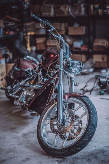 Close-Up Of Motorcycle In Garage