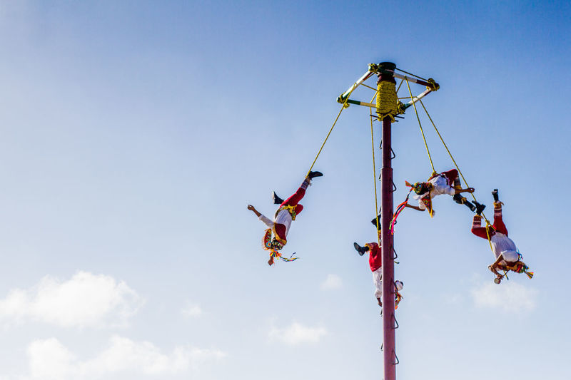 Costa Maya, Mexico Extreme Sports Lifestyles Mexican Culture Mid-air Outdoors Performance Real People Sky Teamwork Voladores De Papantla