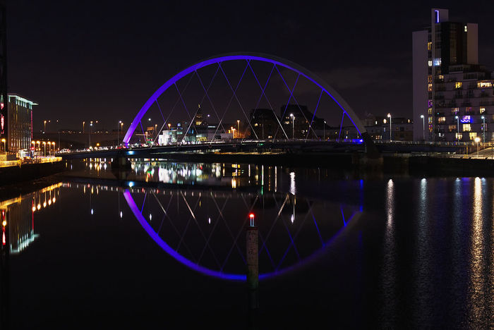 Illuminated Clyde Arc at nighttime Architecture_collection Clyde Glasgow  Lights Nightphotography Scotland United Kingdom Arch Architecture Bridge Bridge - Man Made Structure Building Exterior Built Structure City Citylights Cityscape Clyde Arc Illuminated Night No People Reflection River Uk Water Waterfront