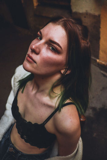 High angle portrait of beautiful young woman