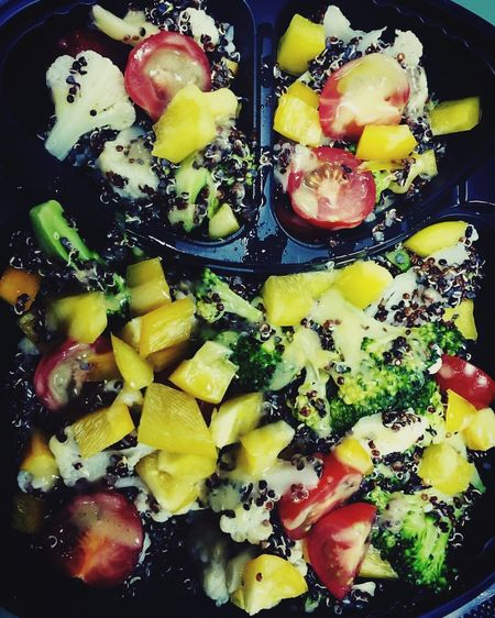 Street Food Worldwide Latelunch Messy salad. Salad Tomatoes Broccoli Quinoa Stayhealthy Evilface Evilsmile Delicious UAE Middle East Dubai Mypic Takeaway Bestoftheday
