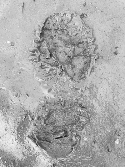 Footprint Footprints Monochrome No People High Angle View Outdoors Day Close-up