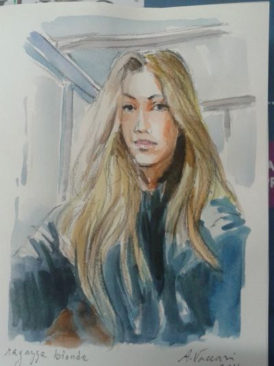 Blonde girl Watercolor Drawing My Draw ♥