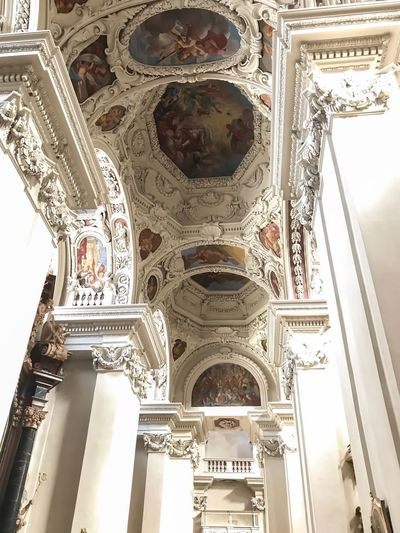 Passau, Germany Architecture Low Angle View Ornate Built Structure Indoors  Ceiling History Place Of Worship Arch Spirituality Religion Travel Destinations No People Architectural Column Statue Day Sculpture Dome Window Architectural Design Place Of Worship Baroque Style