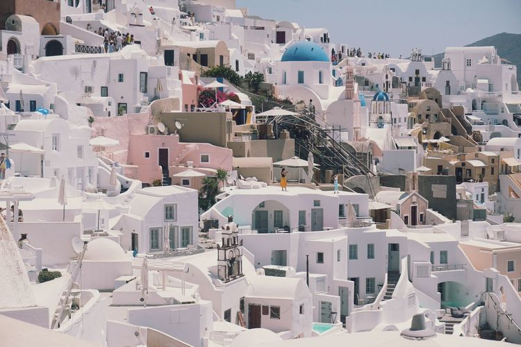 High angle view of buildings in oia