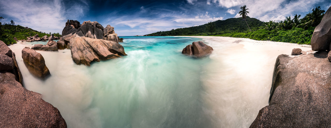 Awe Beach Beauty Beauty In Nature Coastline Idyllic Landscape Long Exposure Love Nature Nautical Vessel No People Outdoors Rock - Object Scenics Sea Seychelles Sky Tourism Tranquil Scene Travel Travel Destinations Vacations Water Waterfall
