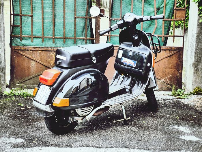 EyeEm Selects moped for one? Day Transportation Outdoors No People Stationary Italian Style Moped Italy Mestre Building Exterior Close-up Transport City Transport Bike Life