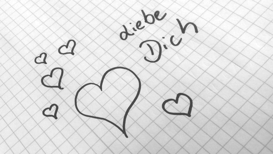 Love you in German Love I Love You ! Liebe Ich Liebe Dich ! Valentine's Day  Valentine's Day  Valentine's Day  German Hearts Hand Writing Written Drawing Paper No People Drawing - Activity Indoors  Sketch Sketchbook Drawings Couple Girlfriend Boyfriend Girlfriends Girl Woman