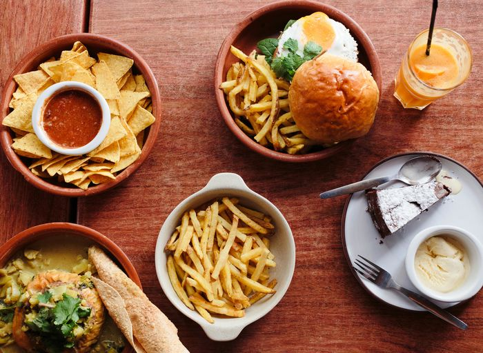 not healthy eating Burger Bowl Day Directly Above Drink Drinking Glass Food Food And Drink Fork French Fries Freshness Healthy Eating High Angle View Indoors  No People Plate Ready-to-eat Table Unhealthy Eating
