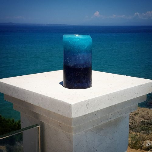 Blue candle in blue sea Candle Dress Freedom GREECE ♥♥ Sky And Clouds Beauty In Nature Blue Bluecandles Day Horizon Horizon Over Water Marble Nature No People Outdoors Scenics - Nature Sea Sky Summer Sunlight Time Tranquil Scene Tranquility Water