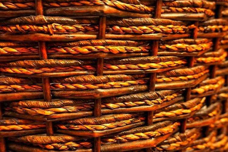 Close-up of Twining of Basket EyeEmNewHere EyeEm Selects EyeEm Best Shots Pattern, Texture, Shape And Form Weave Basket Basket Weave Close-up Design Full Frame Indoors  No People Pattern Twining Twinings Weave Pattern