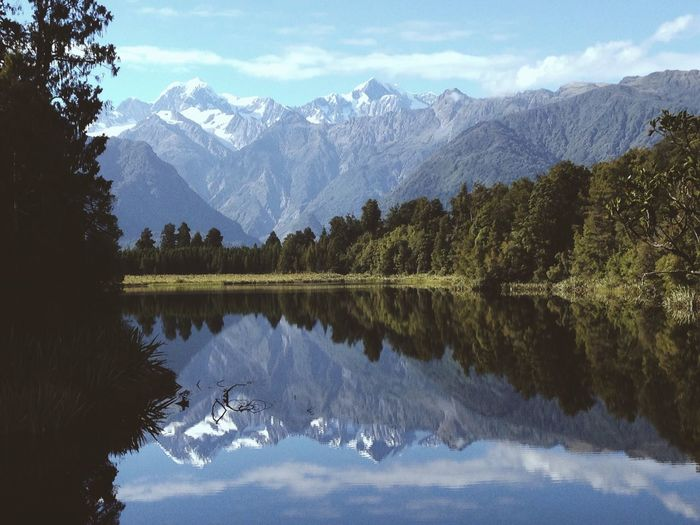 Scenic view of mountains reflecting in lake