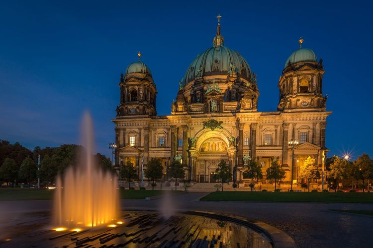 Berlin cathedral against clear sky at night