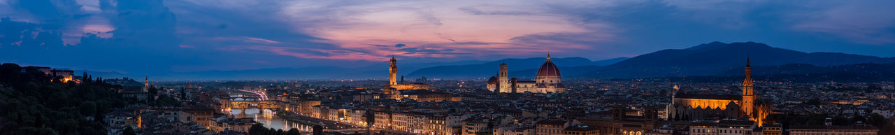 Panoramic view of cityscape at dusk