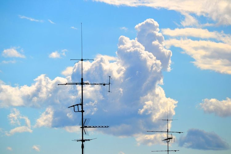 Antenna Beauty In Nature Blue Cable City Citysky Cloud Cloud - Sky Cloudy Day Electricity  Industrial Landscapes Low Angle View Nature No People Outdoors Pole Power Cable Power Line  Power Supply Scenics Sky Tranquil Scene Tranquility
